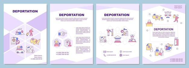 Deportatie brochure sjabloon. officiële verwijdering uit het land. flyer, boekje, folder afdrukken, omslagontwerp met lineaire pictogrammen. vectorlay-outs voor presentatie, jaarverslagen, advertentiepagina's