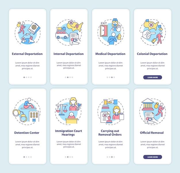 Deportatie onboarding mobiele app pagina scherm set