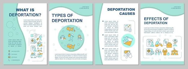 Deportatie proces brochure sjabloon. soorten en oorzaken. flyer, boekje, folder afdrukken, omslagontwerp met lineaire pictogrammen. vectorlay-outs voor presentatie, jaarverslagen, advertentiepagina's