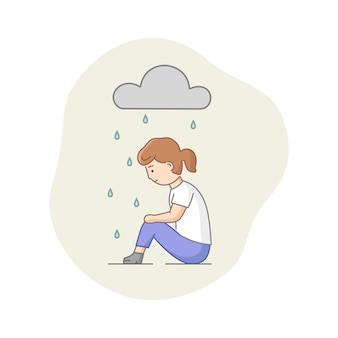 Depressie concept. vrouwelijk personage dat lijdt aan depressie. trieste vrouw zitten onder de regen. bewolkt weer, verhulling van emoties en burn-out.