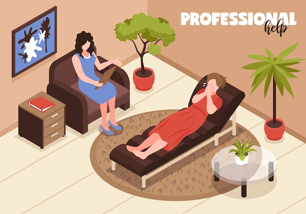 Depressie en professionele hulpillustratie met therapie en hulpsymbolen