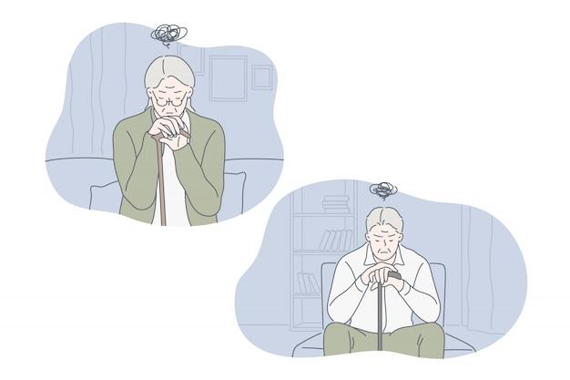 Depressie, frustratie, eenzaamheid, oude set concept