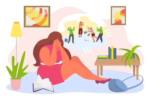 Depressie geestelijke gezondheid, jonge vrouw teken onder stress na openbare pesterijen platte vectorillustratie, geïsoleerd op wit.