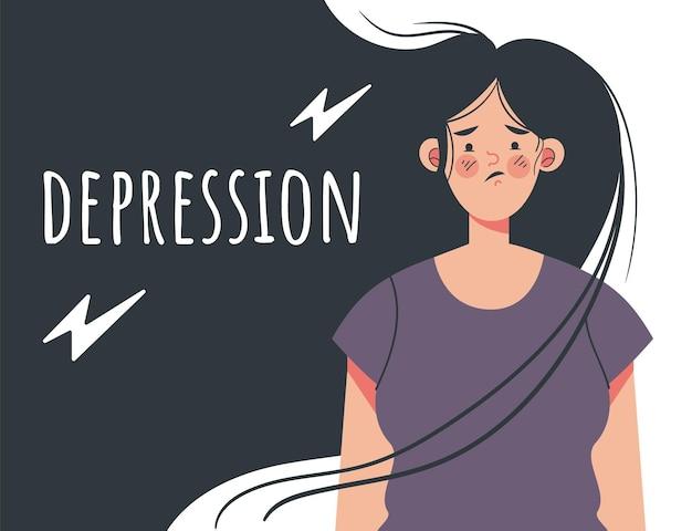 Depressie meisje vrouw tiener karakter platte cartoon grafisch ontwerp illustratie