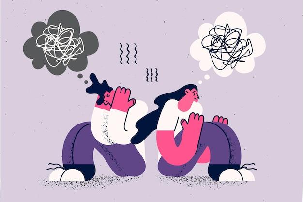 Depressie, verdriet, gevoel gestrest concept. jonge trieste depressieve paar man en vrouw zitten rug aan rug verdrietig gefrustreerd eenzaam vectorillustratie