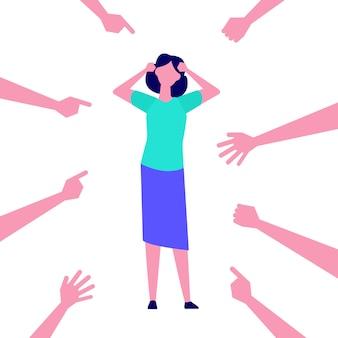 Depressief, gefrustreerd meisje. slachtoffervrouwen, pesterige werknemer, beschuldiging. illustratie.