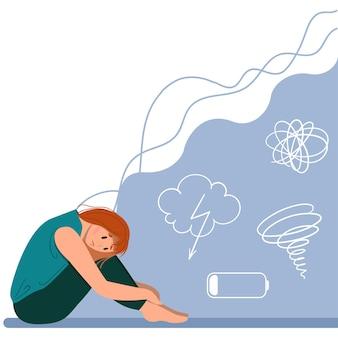 Depressief jong ongelukkig meisje zit en knuffelt haar knieën. concept van psychische stoornis. kleurrijke vectorillustratie in platte cartoon stijl.