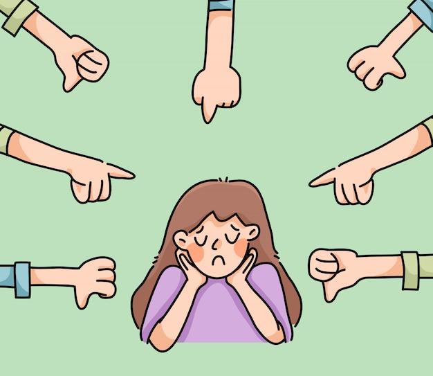 Depressief meisje triest mislukking geen inspiratie leuke cartoon illustratie teleurgesteld