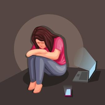 Depressief meisje zitten en huilen met laptop en smartphone illustratie concept in cartoon