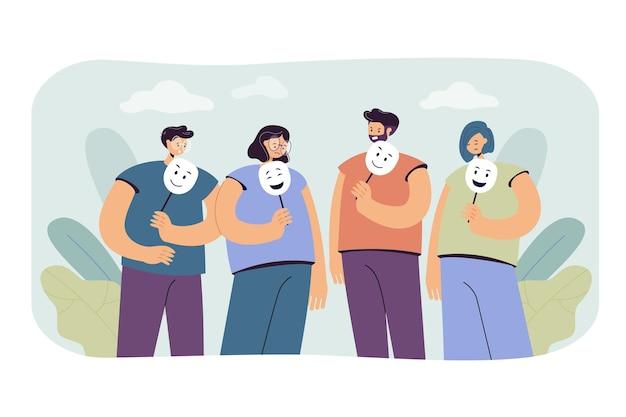 Depressieve en boze mensen die maskers met blije gezichten vasthouden om hun emoties te verbergen. cartoon afbeelding