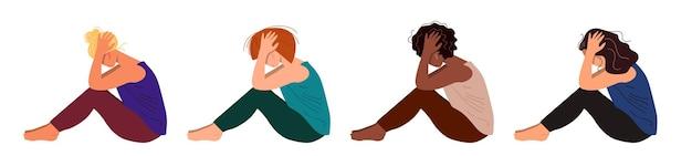 Depressieve jonge ongelukkige meisjes zitten en houden hun hoofd vast. concept van psychische stoornis. kleurrijke vectorillustratie in platte cartoon stijl.