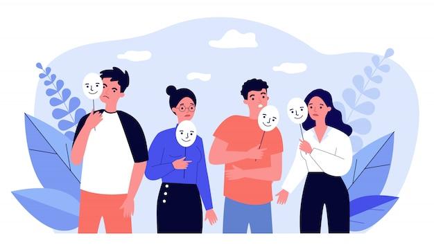 Depressieve man en meisjes met positieve maskers op stokken
