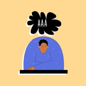 Depressieve man schreeuwt in moderne stijl