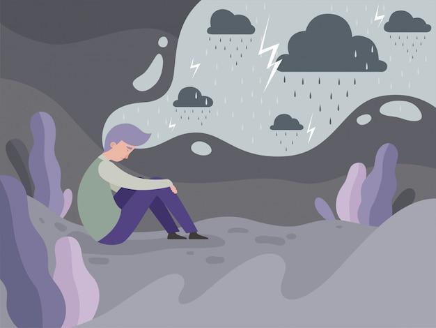 Depressieve mensen. eenzaamheid alleen in de stad moe man regenachtig weer concept