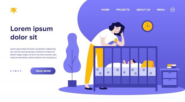 Depressieve moe moeder fles geven aan baby