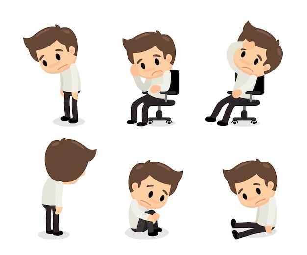 Depressieve stoornis man in verschillende acties.