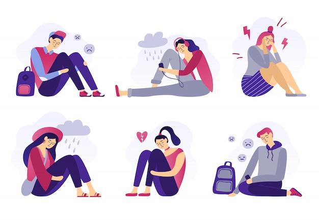 Depressieve tieners, verdriet student, ongelukkige gestresste tiener trieste jongen en huilend meisje, schoolstress geïsoleerd plat