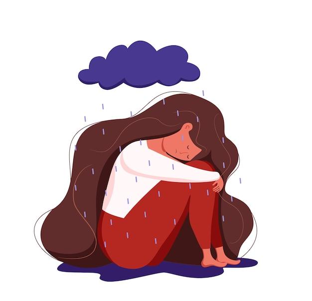 Depressieve triest eenzame vrouw in angst, verdriet vector cartoon illustratie.