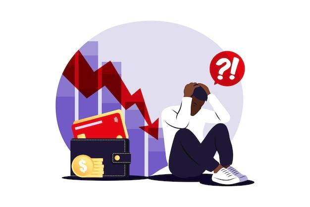 Depressieve trieste afrikaanse man die over problemen denkt. faillissement, verlies, crisis, probleemconcept. vector illustratie. vlak.