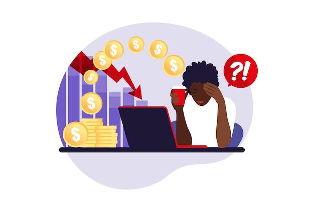 Depressieve trieste afrikaanse vrouw die over problemen denkt. faillissement, verlies, crisis, probleemconcept. vector illustratie. vlak.