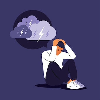 Depressieve trieste man die over problemen denkt. faillissement, verlies, crisis, probleemconcept.