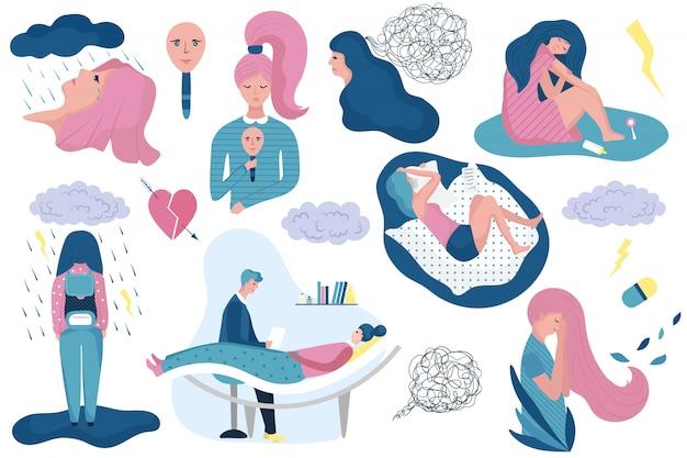Depressieve vrouw huilen, cartoon karakter illustratie