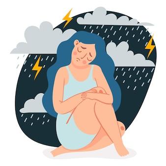 Depressieve vrouw. verdrietig eenzaam meisje zit en knuffelt haar knieën onder regenwolken en storm. vrouw in depressie of angst vector concept. karakter voelt zich overstuur en eenzaam, in een slecht humeur