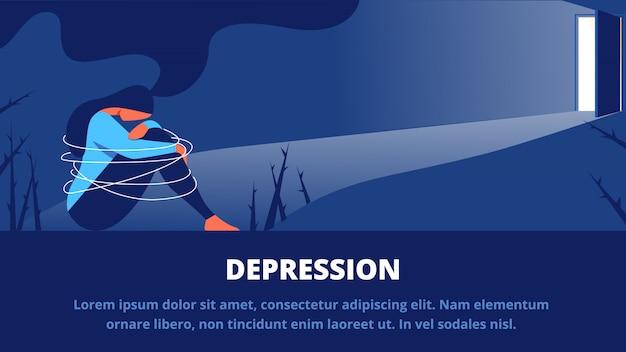 Depressieve vrouw zitten in het donker voor open deur