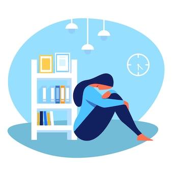 Depressieve vrouw zittend op de vloer in de kamer. vector.