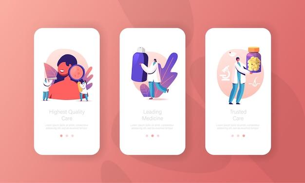 Dermatologie, cosmetologie geneeskunde mobiele app-paginasjabloon.