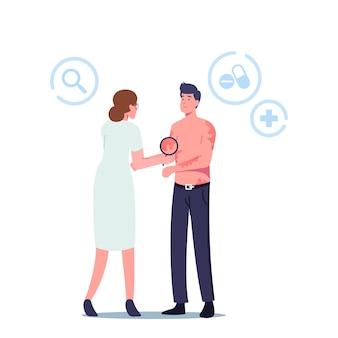 Dermatologie geneeskunde ziektebehandeling, gezondheidszorg. dokter dermatoloog karakter kijken op het lichaam van de patiënt met utricaria rash symptoom. ontsteking, huidziekte. cartoon mensen vectorillustratie