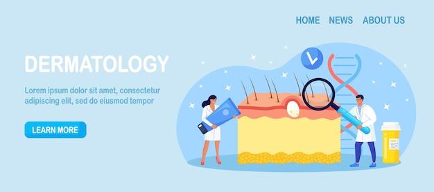 Dermatologie. huidepidermisschema met acne-ontsteking, varicella, allergieën of kanker. artsen met medische apparatuur die rode vlekken, puistjes onderzoeken. dermatoloog diagnose huidziekte
