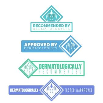 Dermatologisch getest bedrijfslogo en lettertype