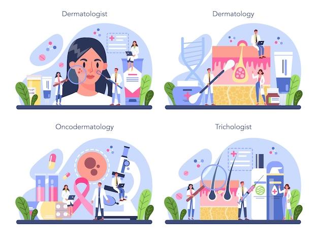 Dermatoloog concept set. specialist dermatologie en tricholoog, huid- of haarbehandeling. idee van schoonheid en gezondheid. schema van de huidepidermis.