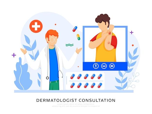 Dermatoloog consultatie concept gebaseerd posterontwerp, cartoon patiënt interactie tijdens videogesprek met dokter man.