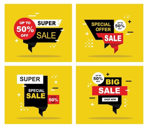 Desain template sale banner penawaran khusus penjualan besar illustratie vector