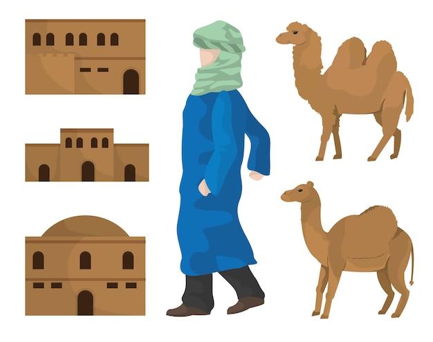 Desert huizen kamelen en arabier