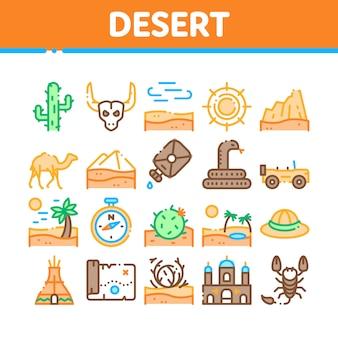 Desert sandy landschap collectie icons set