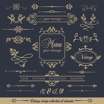 Design collectie van sier vintage stijl