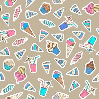 Design in jaren 80-90 stijl. stickers, patches, borduursels en zelfklevende etiketten. roomijs, verjaardagshoed, vuurwerk, drankje, muffin en cupcake.