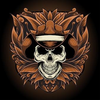 Design tshirt schedel cowboy met gravure ornament