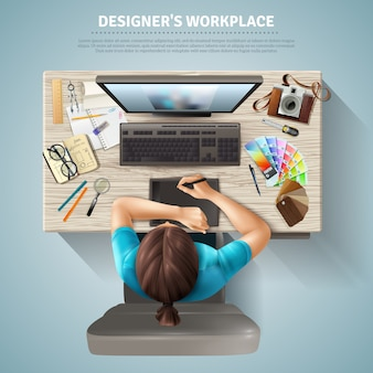 Designer bovenaanzicht illustratie