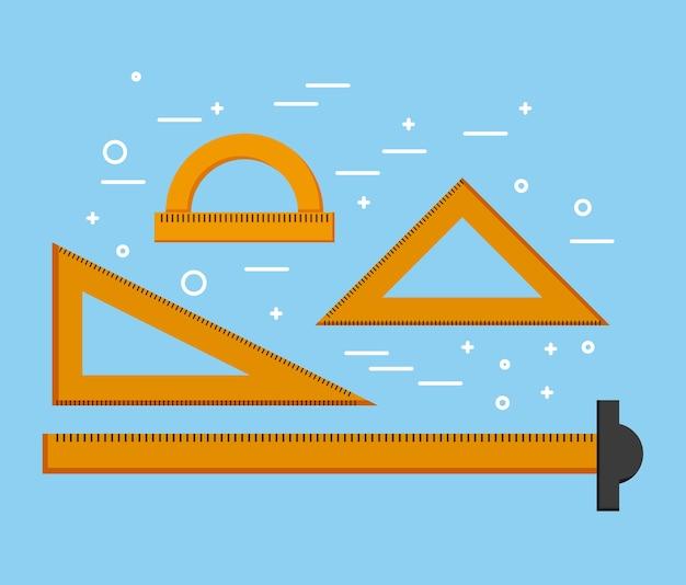 Designer liniaal t vierkante driehoeken en gradenboogbenodigdheden