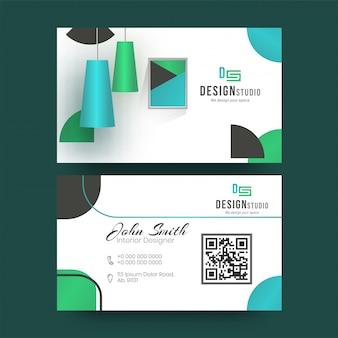 Designer studio-visitekaartjeontwerp in voor- en achteraanzicht.