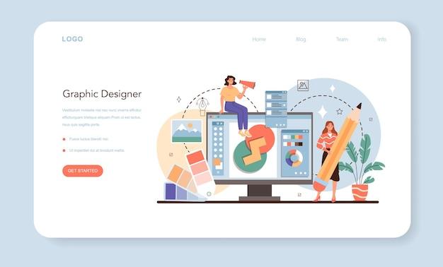 Designer webbanner of bestemmingspagina advertentie ontwerper of grafische illustrator