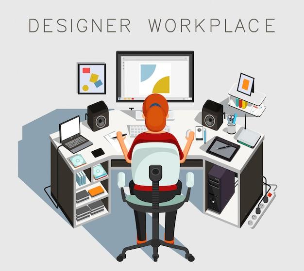 Designer werkplek. gaphische ontwerper aan het werk. illustratie