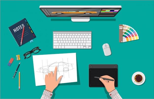 Designer werkplek. illustrator-bureaublad met tools