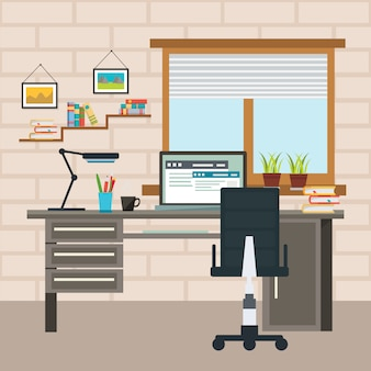 Designer working place composition