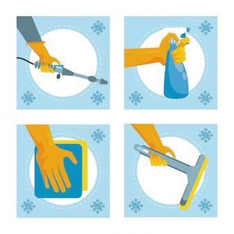 Desinfecteer en reinig de activiteit met set gereedschap