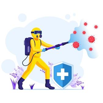 Desinfecterende werknemer in hazmat pakken sprays reinigen en desinfecteren van covid-19 coronavirus cellen concept illustrattion